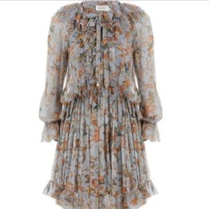 NWT Zimmermann Painted Hearts Silk Ruffle Dress